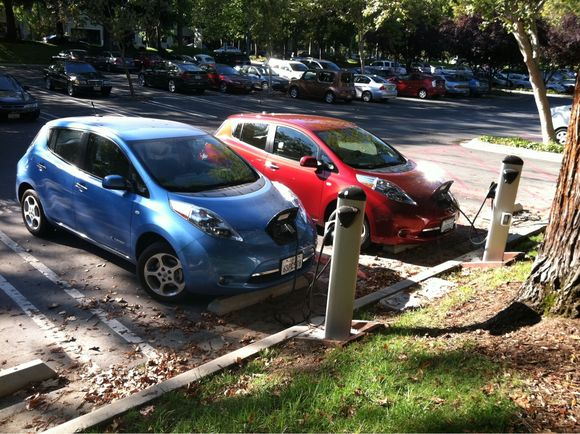 Electric cars charging on the Google campus